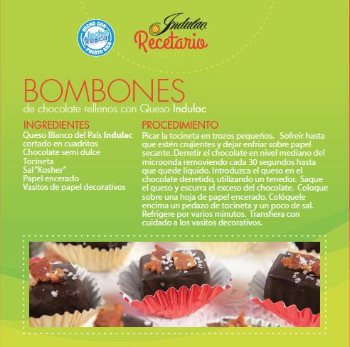 BOMBONES DE CHOCOLATE RELLENOS CON QUESO INDULAC